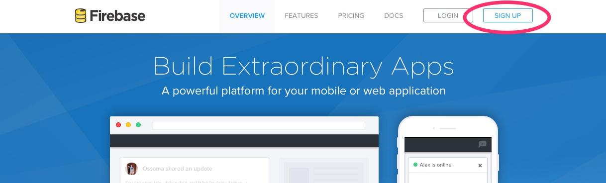 A screenshot showing the Firebase.com homepage