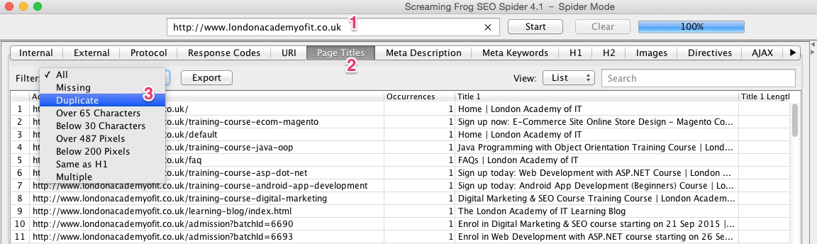 A screenshot of the Screaming Frog SEO Spider tool revealing duplicate page titles
