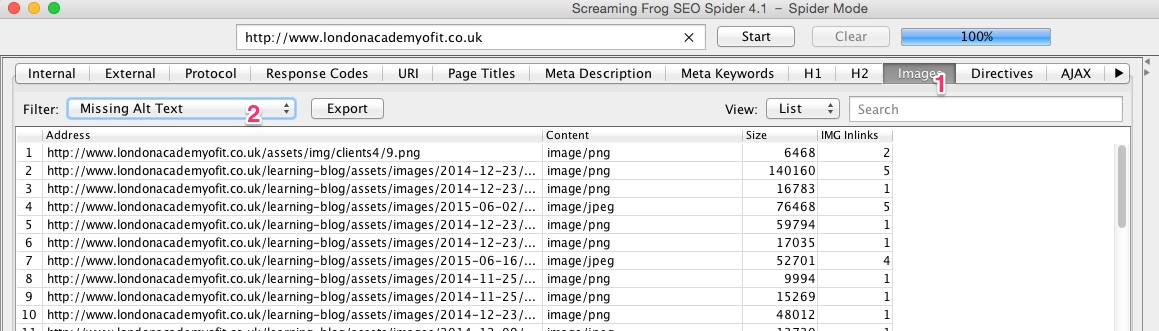 A screenshot of the Screaming Frog SEO Spider tool revealing missing image alt tags