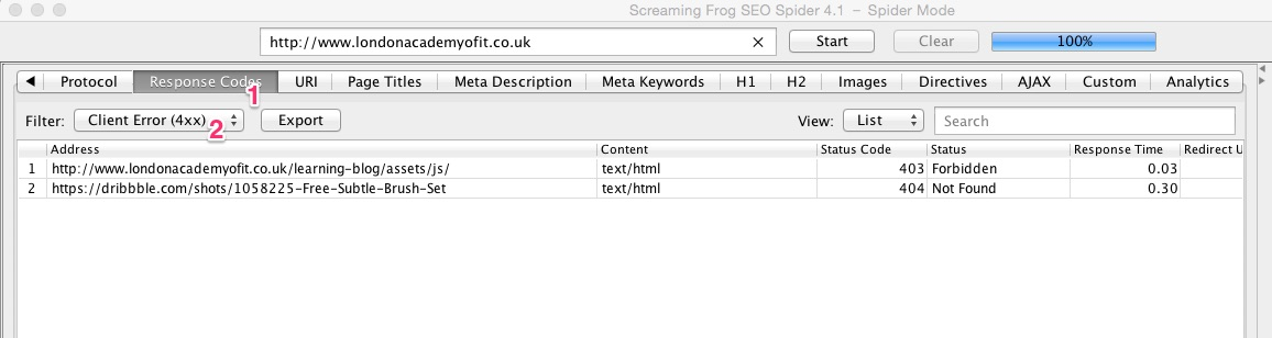 A screenshot of the Screaming Frog SEO Spider tool revealing broken links on the website