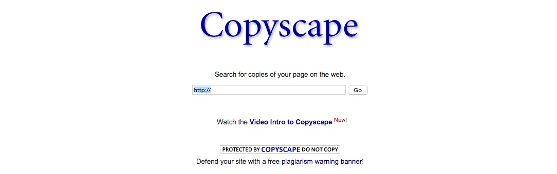 A screenshot of the Copyscape website